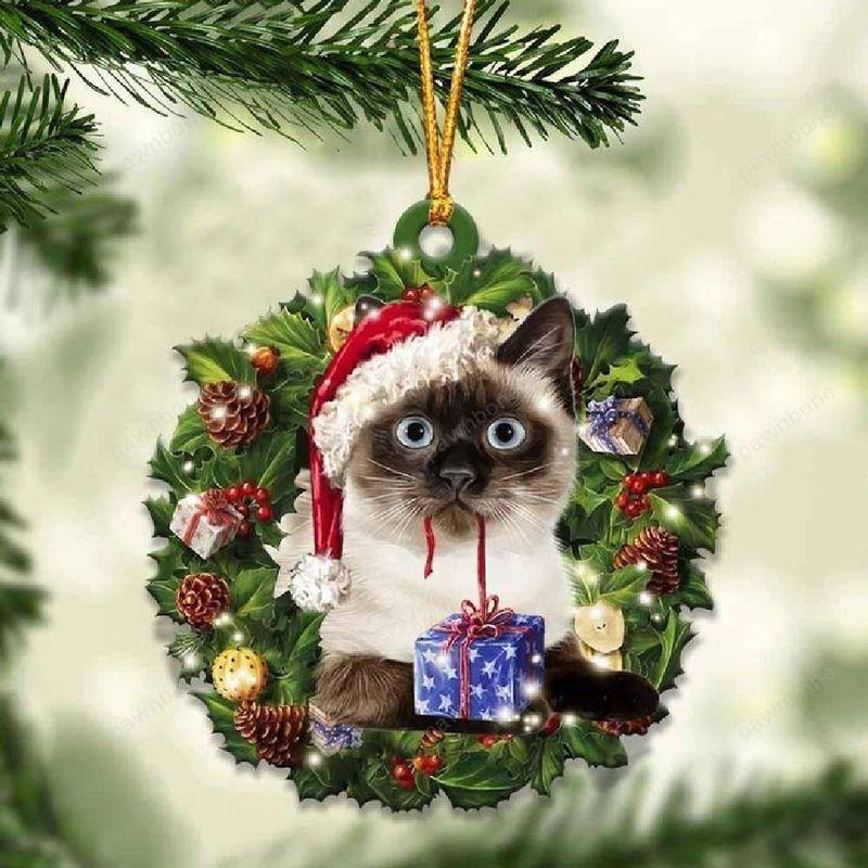 Siamese Cat Christmas Gift Acrylic Ornament