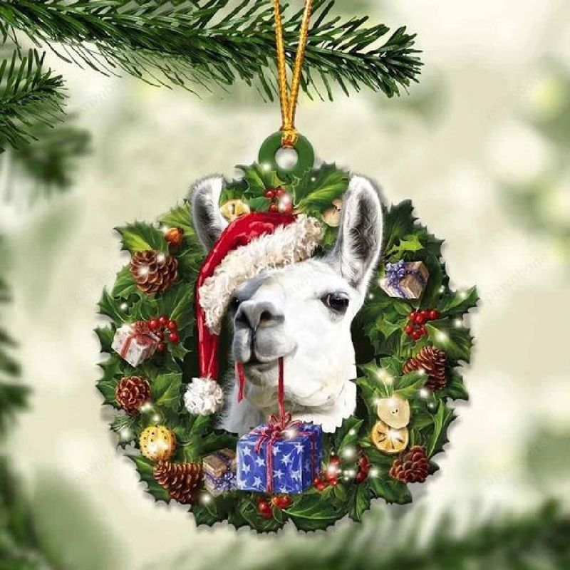 Llama Christmas Gift Acrylic Ornament