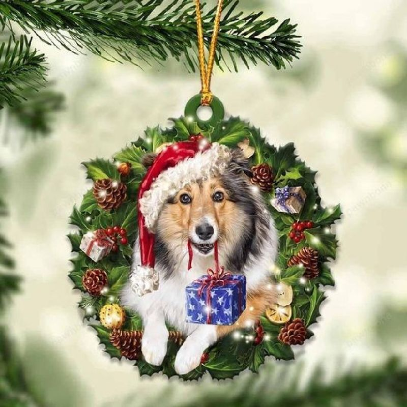 Sheltie Christmas Gift Acrylic Ornament