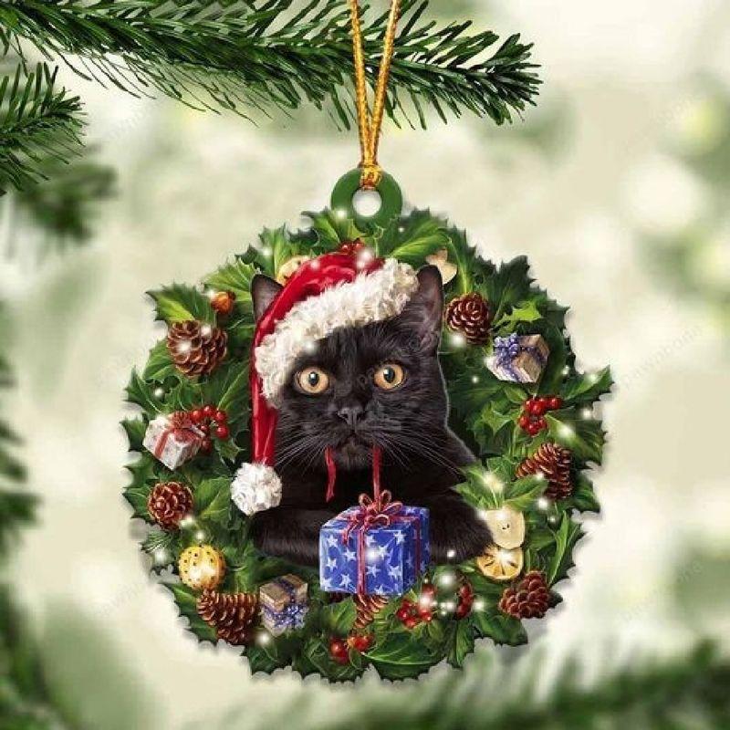 Black Cat Christmas Gift Ornament